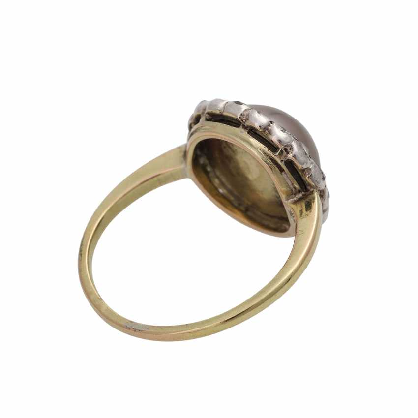 Ring, with half pearl and diamonds - photo 3
