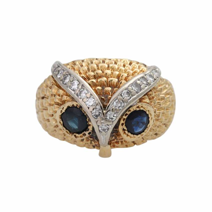 Owl ring with sapphires and diamonds - photo 1