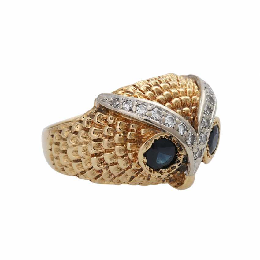 Owl ring with sapphires and diamonds - photo 2