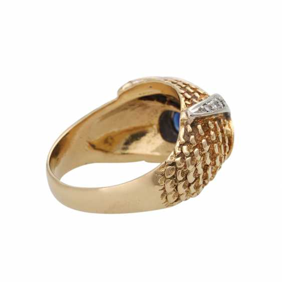 Owl ring with sapphires and diamonds - photo 3