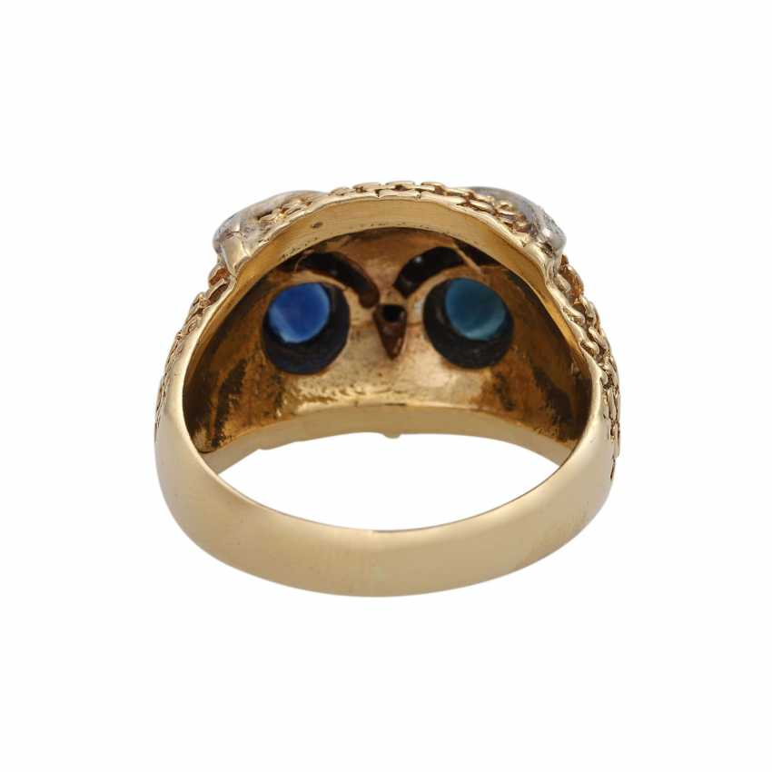 Owl ring with sapphires and diamonds - photo 4