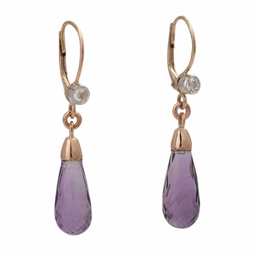 Pair of earrings with amethysts - photo 1