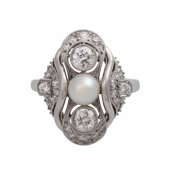Ring with Akoya cultured pearl and diamonds together is approximately 0.7 ct - photo 1