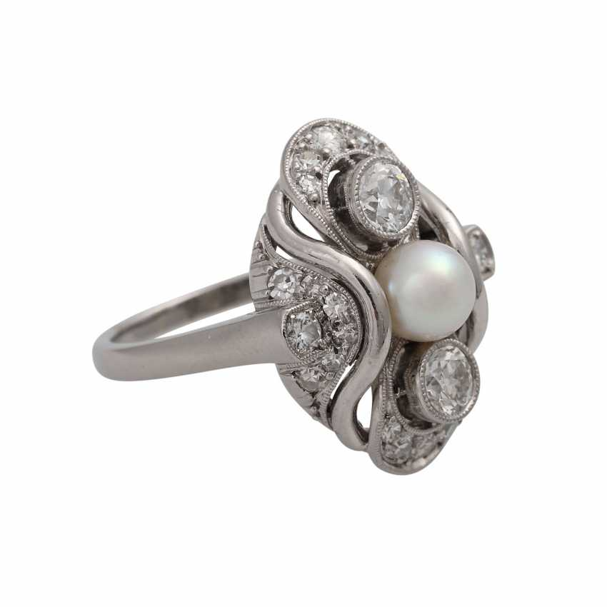 Ring with Akoya cultured pearl and diamonds together is approximately 0.7 ct - photo 2