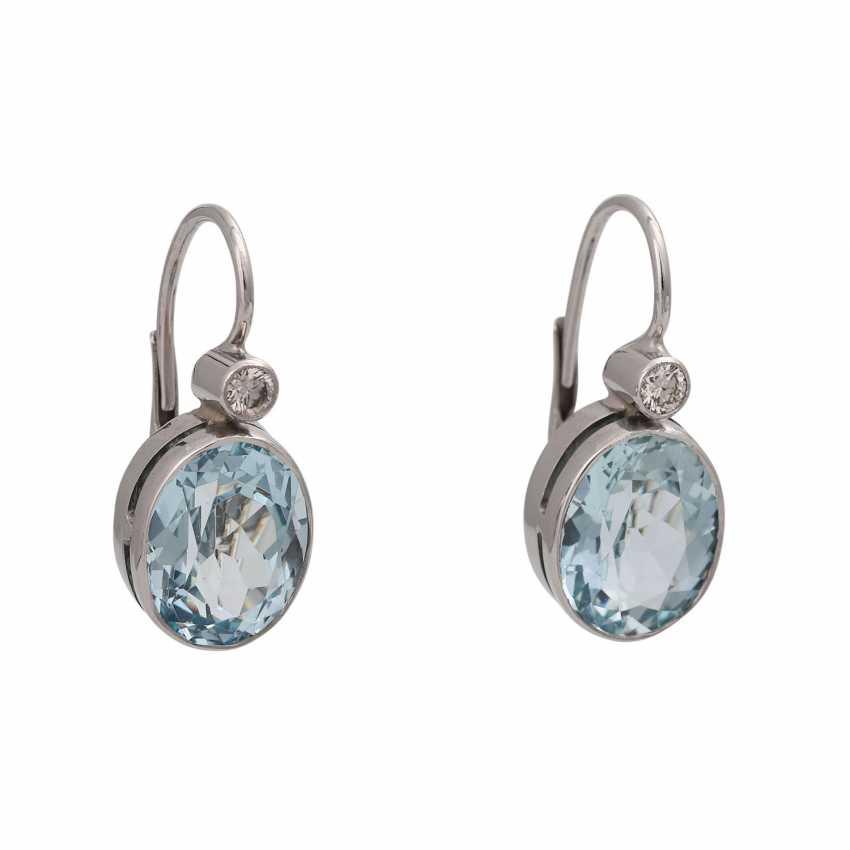 Pair of drop earrings with aquamarine - photo 1