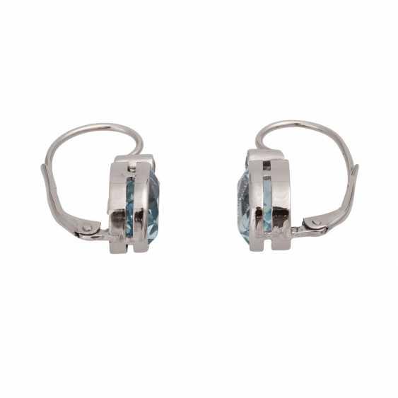 Pair of drop earrings with aquamarine - photo 2
