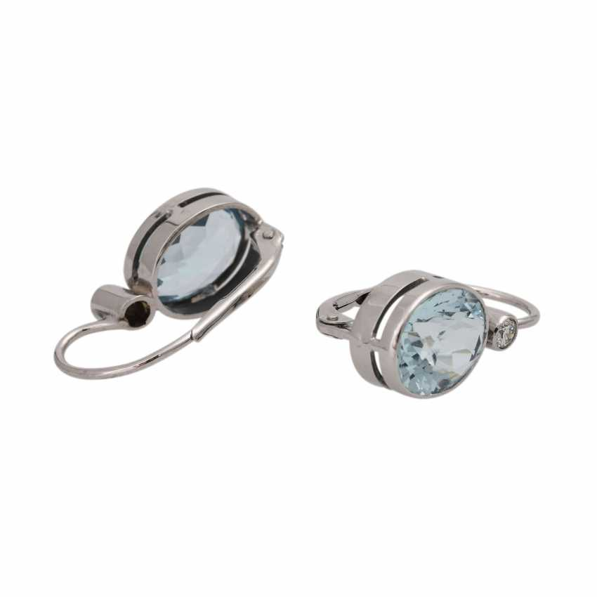 Pair of drop earrings with aquamarine - photo 3