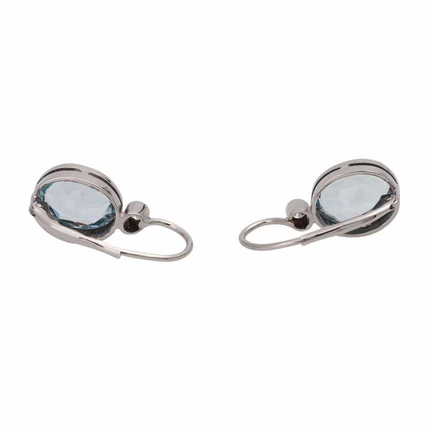 Pair of drop earrings with aquamarine - photo 4