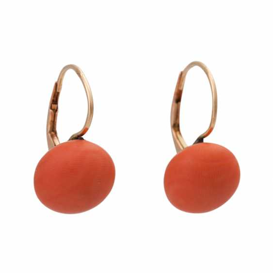 Pair of earrings with precious coral, - photo 1
