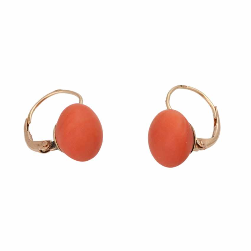 Pair of earrings with precious coral, - photo 2