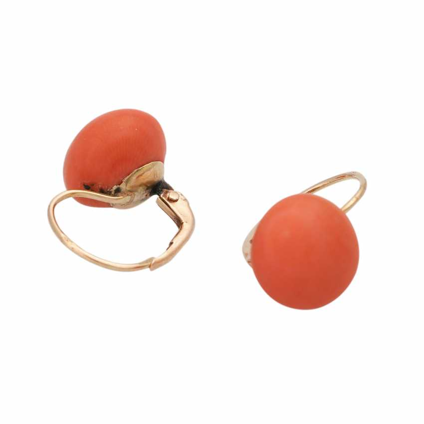 Pair of earrings with precious coral, - photo 3