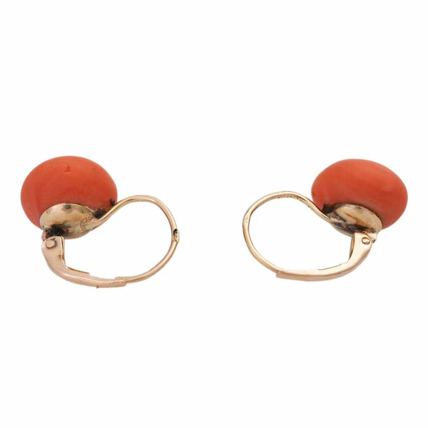 Pair of earrings with precious coral, - photo 4