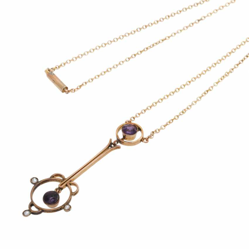 Art Nouveau necklace with small amethysts - photo 4