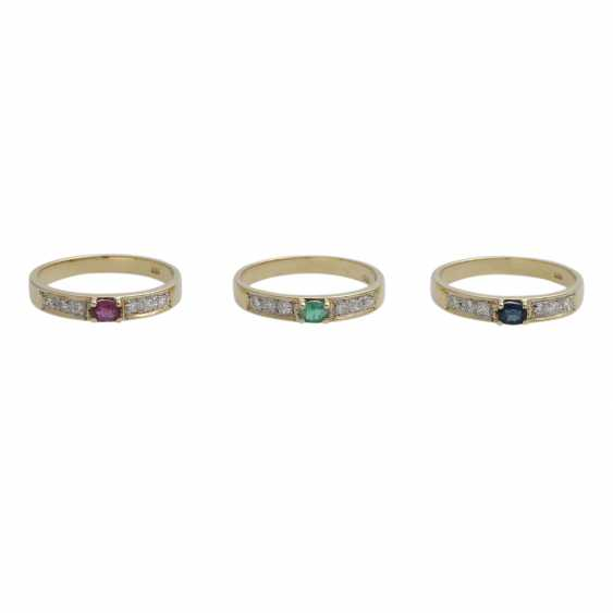3 piece ring set with precious stones, - photo 1