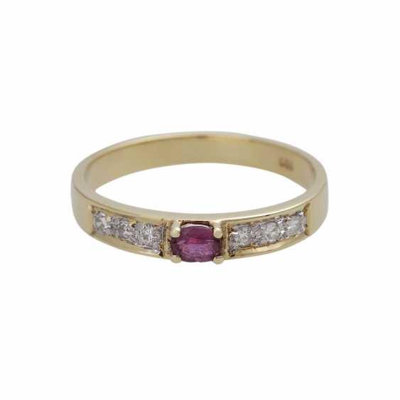 3 piece ring set with precious stones, - photo 2