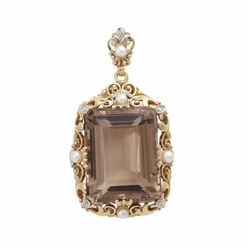 Smoky quartz pendant with cultured pearl - photo 1