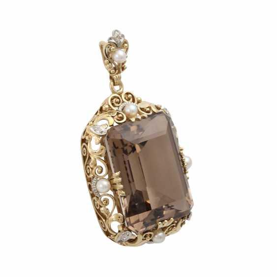 Smoky quartz pendant with cultured pearl - photo 2