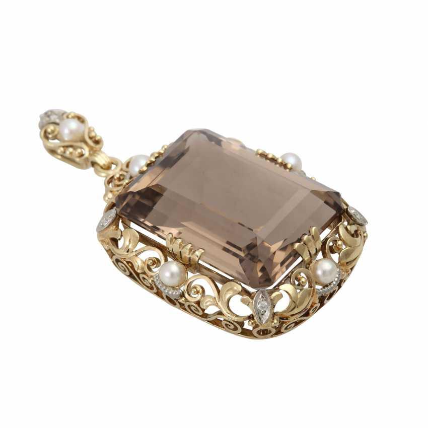 Smoky quartz pendant with cultured pearl - photo 3