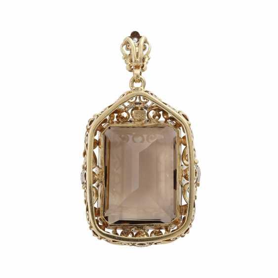 Smoky quartz pendant with cultured pearl - photo 4