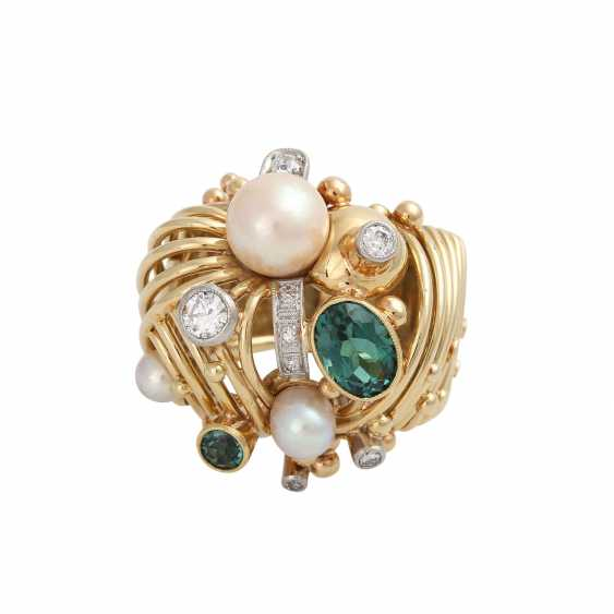 Ring with 2 green tourmalines, cultured pearls and diamonds - photo 5