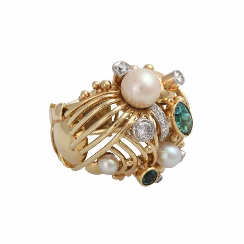 Ring with 2 green tourmalines, cultured pearls and diamonds - photo 1