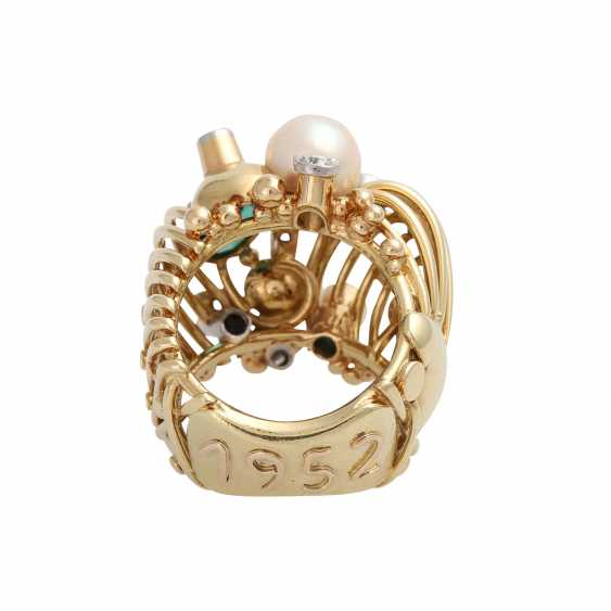 Ring with 2 green tourmalines, cultured pearls and diamonds - photo 3