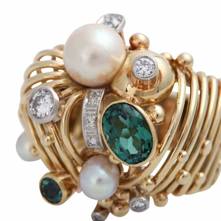 Ring with 2 green tourmalines, cultured pearls and diamonds - photo 4