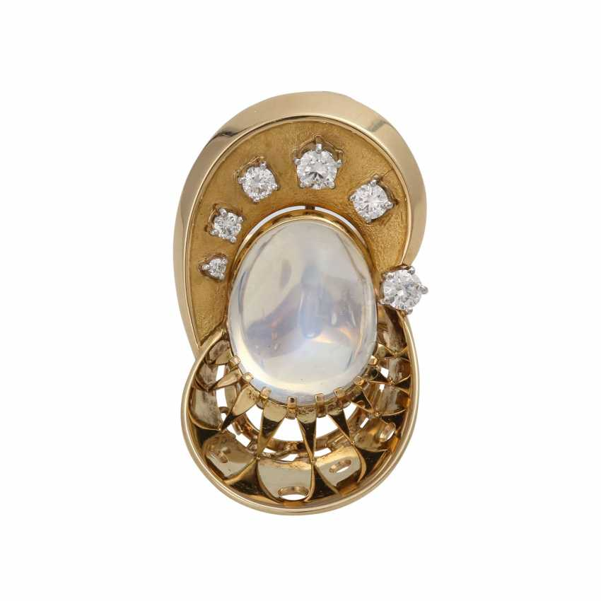 Ring with moon stone approx. 13 ct and brilliant-cut diamonds - photo 1