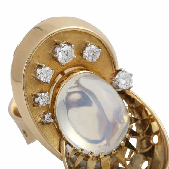 Ring with moon stone approx. 13 ct and brilliant-cut diamonds - photo 5