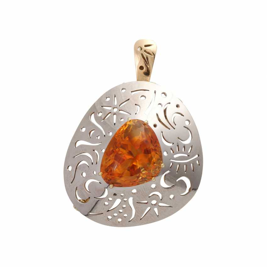 Pendant/brooch with orange-brown citrine - photo 1
