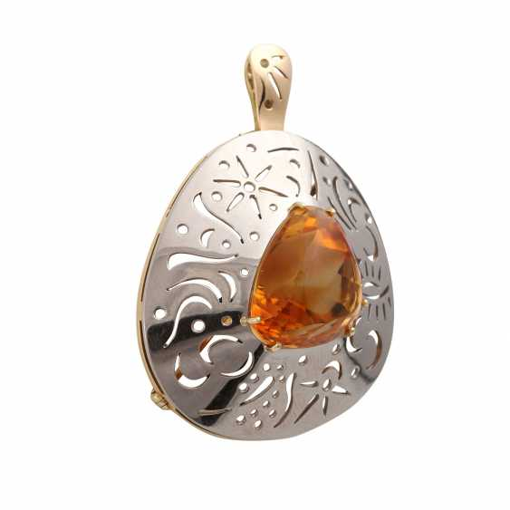 Pendant/brooch with orange-brown citrine - photo 2