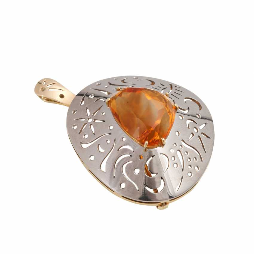 Pendant/brooch with orange-brown citrine - photo 3