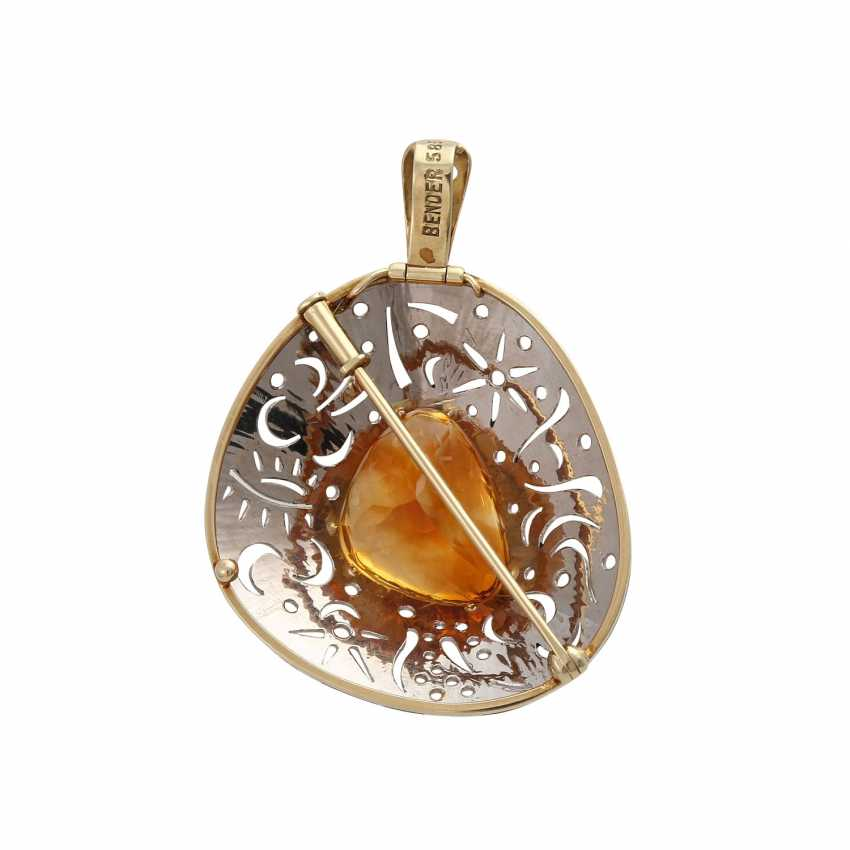 Pendant/brooch with orange-brown citrine - photo 4