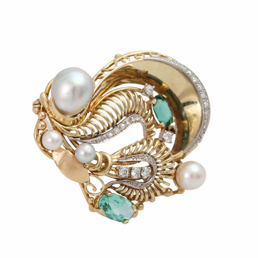 Brooch with green tourmaline, cultured pearls and diamonds - photo 3