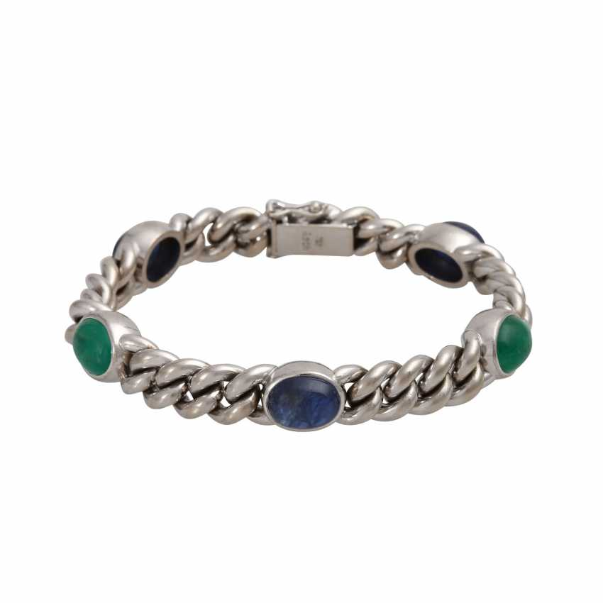 Chain bracelet with emerald and sapphire cabochons, - photo 1