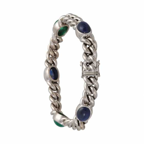 Chain bracelet with emerald and sapphire cabochons, - photo 2