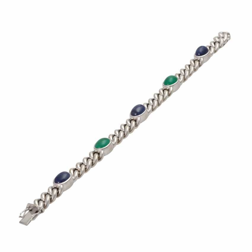 Chain bracelet with emerald and sapphire cabochons, - photo 3
