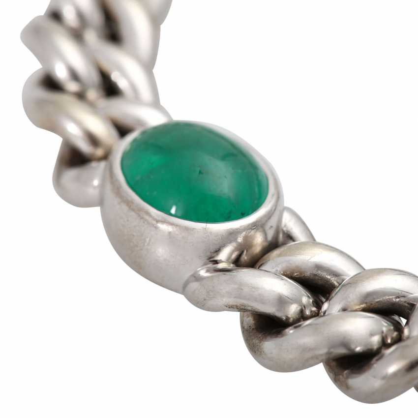 Chain bracelet with emerald and sapphire cabochons, - photo 5