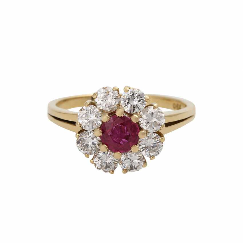 Ruby ring, approximately 0.6 ct brilliant wreath - photo 1