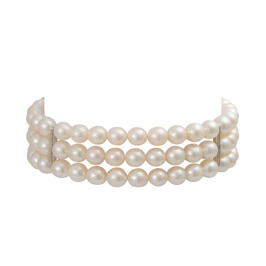 3-row bracelet of Akoya cultured pearls - photo 1