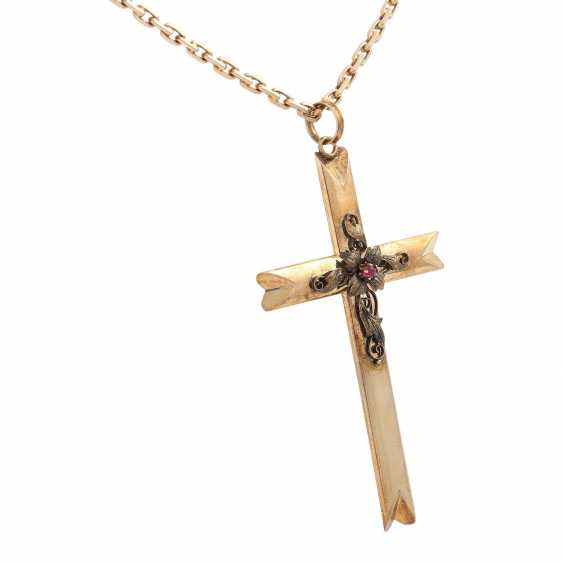 Cross pendant with floral Details - photo 2