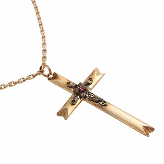 Cross pendant with floral Details - photo 3
