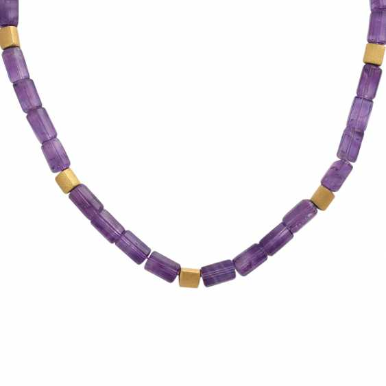 Amethyst colllier with gold-plated intermediate parts, - photo 2
