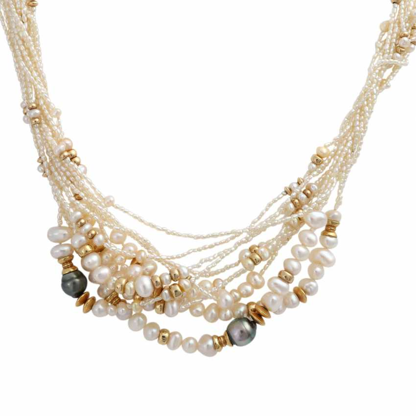 Multi-row pearl necklace, with between parts - photo 2