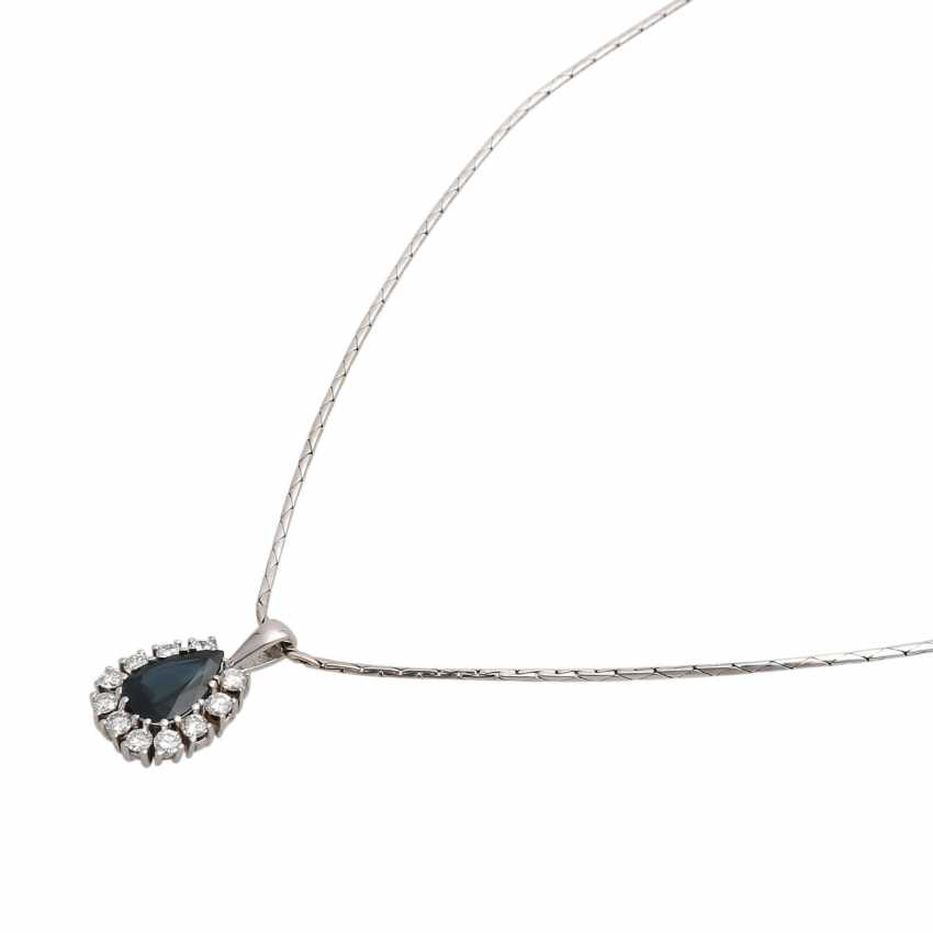 Necklace with sapphire and diamonds - photo 4