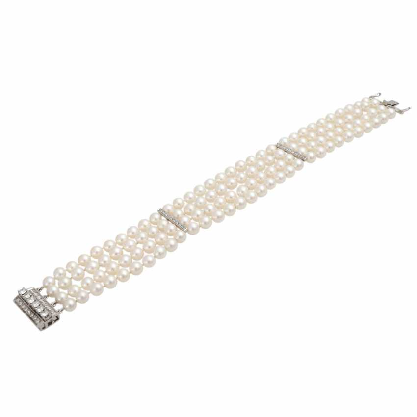 Pearl bracelet 4-complete rows with diamond, together is approximately 0.7 ct, - photo 4