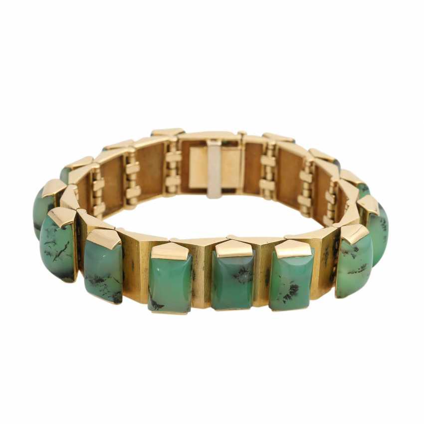 Design bracelet with 15 green dendrite agates, - photo 1
