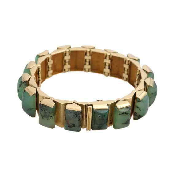Design bracelet with 15 green dendrite agates, - photo 2