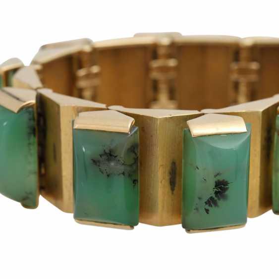 Design bracelet with 15 green dendrite agates, - photo 5