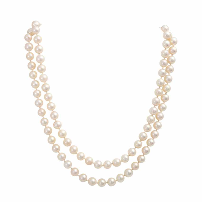 Pearl necklace, 2-row, Clasp with blue-gray Mabeperle - photo 1